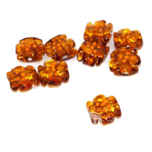 Gold Brown Orange Flower Grace Lampwork Beads Pair Czech Handmade Glass Artisan Lampwork Christmas Set Solid Gold 24K Candy Bow 15mm 2pc for $5.48 from Czech Beads Exclusive