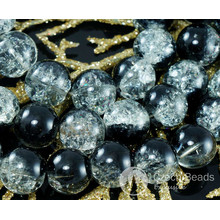 Large Clear Black Czech Cracked Glass Beads 14mm 4pcs for $2.4 from Czech Beads Exclusive