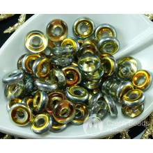 40pcs Crystal Yellow Gold Iris Half Czech Glass Flat Ring Beads O Shaped Large Hole Donut 8mm for $2.39 from Czech Beads Exclusive