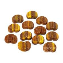 Yellow Brown Nautilus Czech Glass Picasso Beads Ammonite Beads Ammonite Fossil Bead Seashell Beads Nautilus Sea Shell Bead 17mm x 14mm 6pc for $2.09 from Czech Beads Exclusive