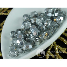 Crystal Silver Half Czech Glass Faceted Round Beads Fire Polished 6mm 40pcs for $2.57 from Czech Beads Exclusive