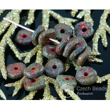 NEW SHAPE 20pcs Rough Matte Picasso Matte Rustic Red Brown Waved Flat Round Disk One Hole Czech Glass Beads Disc Washer 8mm for $2.46 from Czech Beads Exclusive