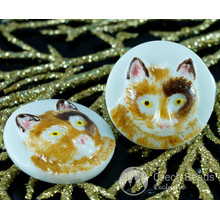 Handmade Czech Glass Buttons Brown Cat Yellow Eyes Animal Halloween White Size 10, 22.5mm 1pc for $2.98 from Czech Beads Exclusive