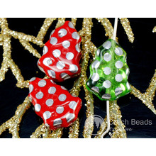 Mix Green Red Silver Dotted Czech Glass Flat Christmas Tree Beads 17mm x 12mm 6pcs for $2.5 from Czech Beads Exclusive
