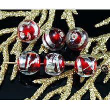 2pcs Czech Handmade Lampwork Red Solid Silver Striped Round Glass Beads Christmas Pair SRA Artisan 8mm for $3.17 from Czech Beads Exclusive