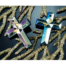Hand Carved Black Gold Iris Czech Glass Cross Faceted Pendant Beads Focal Religious 24mm x 18mm 1pcs for $2.57 from Czech Beads Exclusive