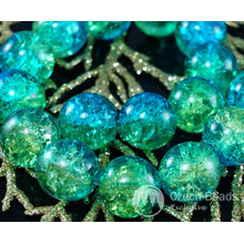 Large Clear Green Turquoise Blue Czech Cracked Glass Beads 14mm 4pcs for $2.4 from Czech Beads Exclusive