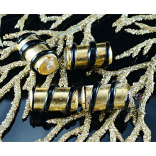 2pcs Czech Handmade Lampwork Solid Gold 24K Black Tube Glass Beads Spiral Striped Twisted Christmas Pair SRA Artisan 16mm x 8mm for $3.39 from Czech Beads Exclusive