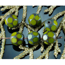 Picasso Olive Green Brown Czech Glass Faceted Beads Window Table Cut Football Dotted Easter 8mm 20pcs for $2.72 from Czech Beads Exclusive