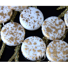 Opaque White Gold Spotted Czech Glass Flat Round Coin Beads Tablet Shape 14mm 8pcs for $2.4 from Czech Beads Exclusive