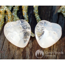 Clear White Cracked Glass Heart Bead Transparent Heart Beads Valentine Bead Valentines Beads Czech Glass Beads Wedding Beads 16mm x 14mm 6pc for $2.4 from Czech Beads Exclusive