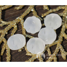 White Matte Clear Squashed Melon Beads Czech Glass Melon Beads Glass Fruit Fall Melon Glass Pumpkin Czech Melon Beads 8mm x 11mm 16pc for $2.13 from Czech Beads Exclusive