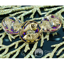 Handmade Czech Glass Buttons Small Gold Fish Volcano Purple Pisces Zodiac Size 8, 18mm 1pc for $2.74 from Czech Beads Exclusive