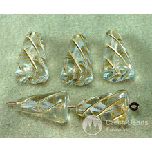 Crystal Clear Gold Lined Czech Glass Icicle Beads Long Teardrop Spike Cone 15mm x 10mm 8pcs for $2.35 from Czech Beads Exclusive