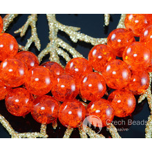Clear Bright Orange Czech Cracked Glass Beads Summer Spring 10mm 8pcs for $2.4 from Czech Beads Exclusive