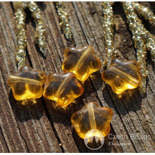 Clear Yellow Star Beads Glass Star Bead Flat Star Glass Beads Yellow Star Czech Glass Beads Yellow Glass Czech Star Bead 8mm 30pc for $2.27 from Czech Beads Exclusive