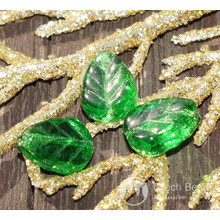 Clear Green Glass Leaf Beads Czech Leaf Beads Leaf Bead Exclusive Carved Leaf Beads Green Flat Leaf Beads Carved 10mm x 8mm 14pc for $2.27 from Czech Beads Exclusive