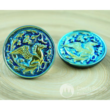 1pc AB Gold Blue Carved Pegasus Horse Animal Handmade Czech Glass Buttons Size 12, 27mm for $3.6 from Czech Beads Exclusive