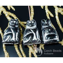 Large Black Silver Czech Glass Cat Beads Animal Halloween 20mm x 14mm 6pcs for $2.43 from Czech Beads Exclusive