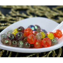 Matte Multicolor Summer Mix Czech Glass Fire Polished Faceted Round Beads 8mm, 6mm 20g Approximately 46pcs for $3.08 from Czech Beads Exclusive