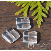Crystal Clear Flat Square Glass Beads Czech Glass Beads Square Czech Tile Beads Czech Glass Tile Bead Czechmate Clear Spacer Beads 10mm 8pc for $2.4 from Czech Beads Exclusive