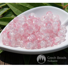 Clear Pink Cracked Glass Beads Clear Pink Beads Czech Glass Round Beads Czech Beads Bohemian Beads Authentic Wedding Beads 6mm 40pc for $2.4 from Czech Beads Exclusive