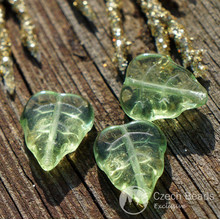 Green Clear Czech Glass Leaf Beads Flat Carved 12mm x 10mm 20pcs for $2.27 from Czech Beads Exclusive