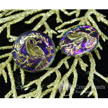 Handmade Czech Glass Buttons Gold Peacock Volcano Purple Size 10, 22.5mm 1pc for $2.98 from Czech Beads Exclusive
