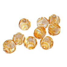 Gold Yellow Silver Transparent Lampwork Czech Glass Handmade Christmas Beads Set Solid Silver 24K Round Original Authentic 12mm 2pc for $3.66 from Czech Beads Exclusive