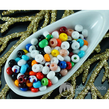 20g Mix Multicolor Striped Opaque Czech Glass Round Seed Beads 7/0 PRECIOSA Pearls Rocaille Spacer for $2.39 from Czech Beads Exclusive