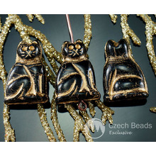 Large Black Gold Czech Glass Cat Beads Animal Halloween 20mm x 14mm 6pcs for $2.43 from Czech Beads Exclusive