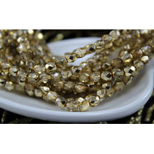 Small Clear Metallic Half Gold Czech Faceted Fire Polished Round Glass Beads 4mm 8g for $2.7 from Czech Beads Exclusive