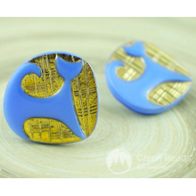 1pc Blue Gold Cat Animal Pet Halloween Handmade Czech Glass Buttons Size 12, 27mm for $3.86 from Czech Beads Exclusive