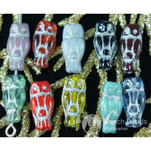Mix Small Silver Multicolor Czech Glass Owl Beads Bird Animal Halloween 14mm x 6mm 28pcs for $2.31 from Czech Beads Exclusive