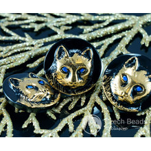 Handmade Czech Glass Buttons Gold Cat Blue Eyes Animal Halloween Black Size 10, 22.5mm 1pc for $2.98 from Czech Beads Exclusive
