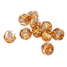 Bronze Yellow Silver Transparent Lampwork Czech Glass Handmade Christmas Beads Set Solid Silver 24K Round Original Authentic 12mm 2pc for $3.69 from Czech Beads Exclusive