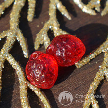 Clear Red Strawberry Beads Czech Glass Strawberry Beads Glass Fruit Beads Strawberry Glass Fall Czech Strawberry Beads 10mm x 8mm 10pc for $2.25 from Czech Beads Exclusive