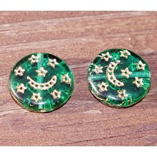 Clear Green Gold Czech Glass Flat Round Coin Moon Stars Beads 13mm 8pcs for $2.29 from Czech Beads Exclusive