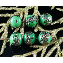 2pcs Czech Handmade Lampwork Opaque Green Aventurine Bronze Dotted Spotted Round Glass Beads Christmas Pair SRA Artisan 8mm for $3.2 from Czech Beads Exclusive