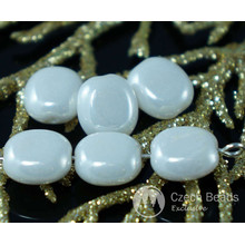 White Pearl Czech Glass Flat Oval Tablet Shape Beads 10mm x 9mm x 5mm 14pcs for $2.4 from Czech Beads Exclusive