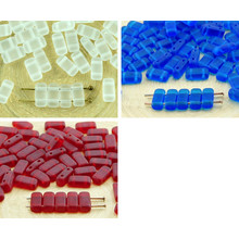 40pcs Matte Crystal Frosted Sea Glass Flat Bricks Rectangle Bar 2 Two Hole Czech Beads 8mm X 4mm for $2.61 from Czech Beads Exclusive