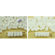 40pcs White Alabaster Flat Bricks Rectangle Bar 2 Two Hole Czech Glass Beads 8mm X 4mm for $2.88 from Czech Beads Exclusive