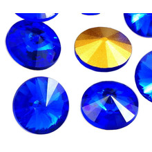 4pcs Crystal Montana Sapphire Blue Gold Half Rivoli Swarovski Style Czech Glass Stone Chatons Rhinestones 14mm for $3.86 from Czech Beads Exclusive