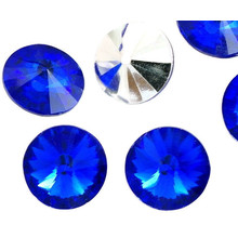 6pcs Crystal Montana Sapphire Blue Silver Half Rivoli Swarovski Style Czech Glass Stone Chatons Rhinestones 12mm for $4.56 from Czech Beads Exclusive