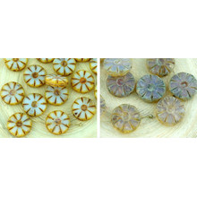 8pcs Picasso Opal Table Cut Flower Flat Coin Czech Glass Beads 12mm for $2.98 from Czech Beads Exclusive