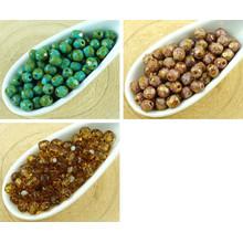 100шт Пикассо Коричневый Круглый Граненый Бусины Чешские Стеклянные 4мм для $ 3.06 из Czech Beads Exclusive