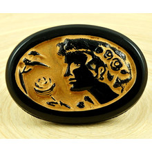 1pc Black Gold Patina Wash Woman Face Cameo Greek Style Handmade Czech Glass Buttons Large Size 18 40.5mm for $4.78 from Czech Beads Exclusive