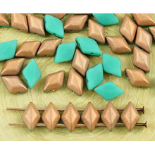 60pcs Matte Turquoise Bronze Half Matubo GemDuo Rhombus Diamond Two 2 Hole Czech Glass Beads Gem Duo 8mm x 5mm for $2.8 from Czech Beads Exclusive
