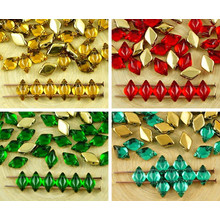 60pcs Crystal Metallic Gold Half Matubo Gemduo Rhombus Diamond Two 2 Hole Czech Glass Beads Gem Duo 8mm for $2.8 from Czech Beads Exclusive
