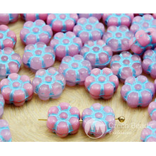 30pcs Pink Mix Turquoise Wash Patina Czech Glass Coin Flower Beads 8mm for $2.48 from Czech Beads Exclusive
